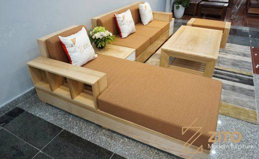 sofa gỗ chữ U cho phòng khách hẹp