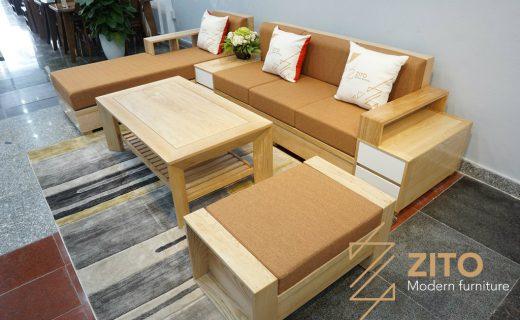 Sofa gỗ sồi màu nguyên bản đẹp