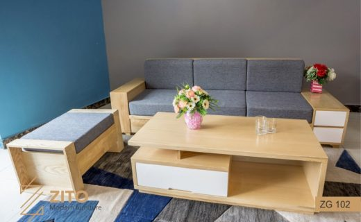 Bộ sofa gỗ Sồi Mỹ đẹp cho phòng khách