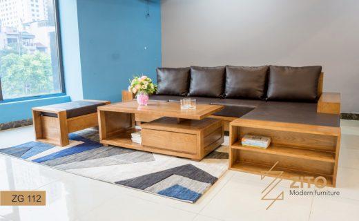 sofa phòng khách góc chữ L đệm da Micrifiber ZG 112
