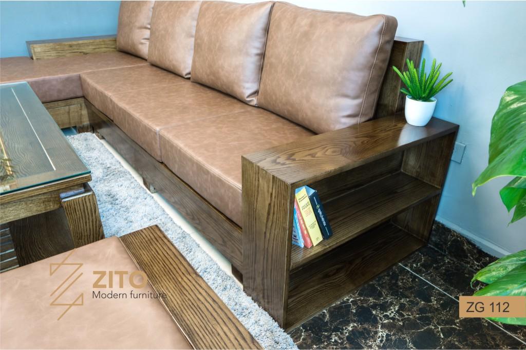 Mẫu sofa gỗ bọc nệm màu óc chó chữ L ZG112