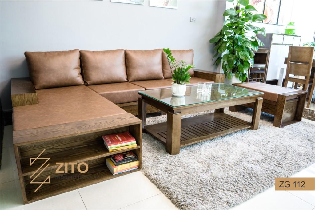 Bộ bàn ghế sofa gỗ màu óc chó chữ L ZG112