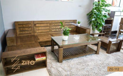 sofa gỗ bọc nệm góc chữ L đẹp ZG 112