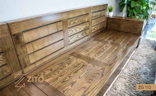 Chất liệu ghế sofa chữ L màu óc chó ZG112 100% gỗ tự nhiên