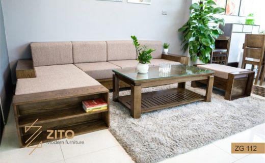 Bộ sofa gỗ màu óc chó góc chữ L ZITO ZG112