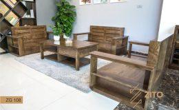 Sofa gỗ Sồi màu óc chó đẹp