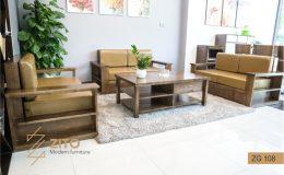 Mẫu bàn ghế sofa gỗ Sồi nga màu óc chó hiện đại