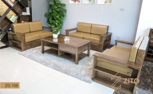 Bộ bàn ghế sofa gỗ Sồi nga phòng khách ZITO
