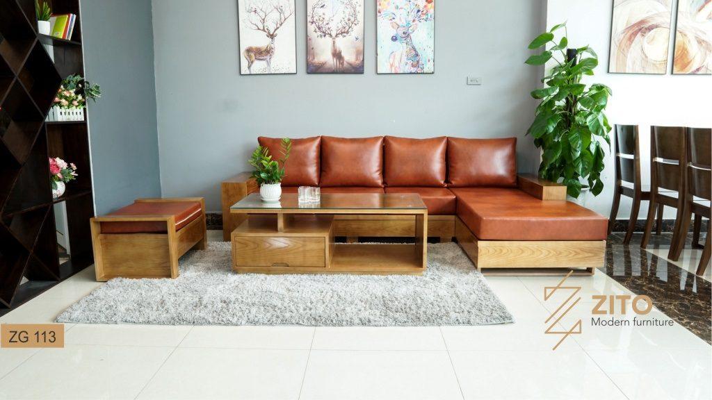 Chất liệu bộ sofa gỗ Sồi Nga được bọc bằng đệm da đẹp và bền