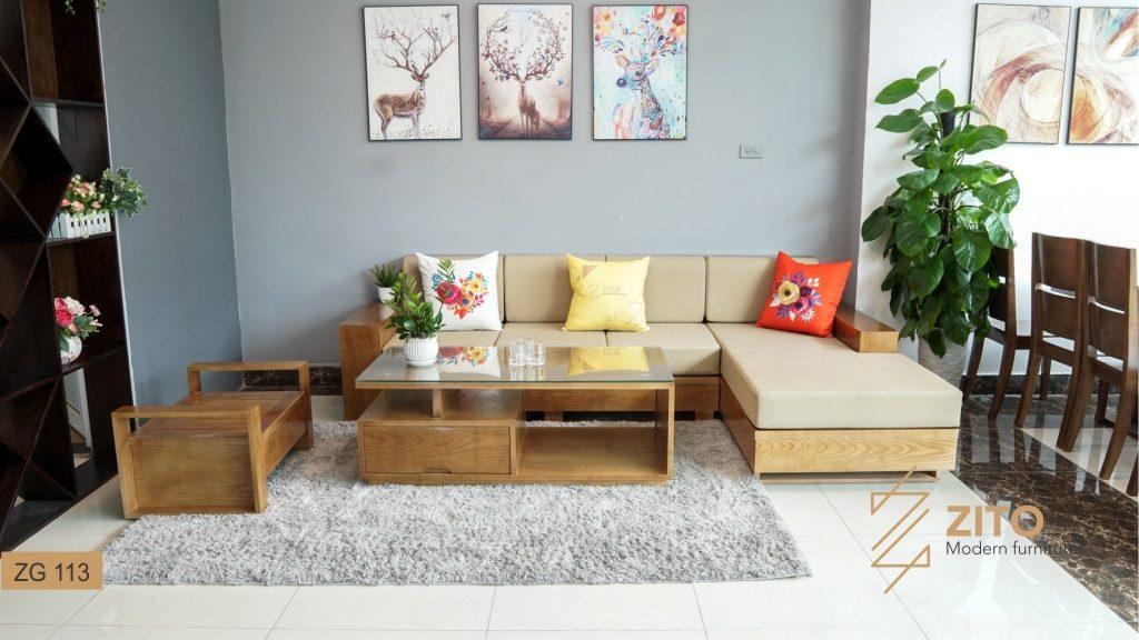 Hình ảnh bộ bàn ghế sofa gỗ Sồi ZG113 hiện đại