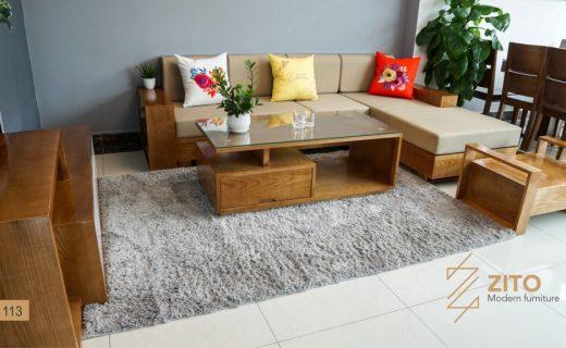 Thiết kế sofa gỗ Sồi Nga góc chữ L chuẩn chỉnh trong từng chi tiết