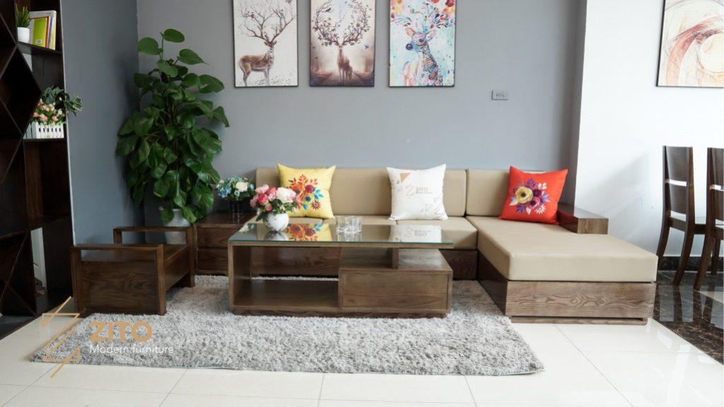 Sofa gỗ đệm cao cấp phòng khách nội thất phong thủy tuổi Quý Hợi