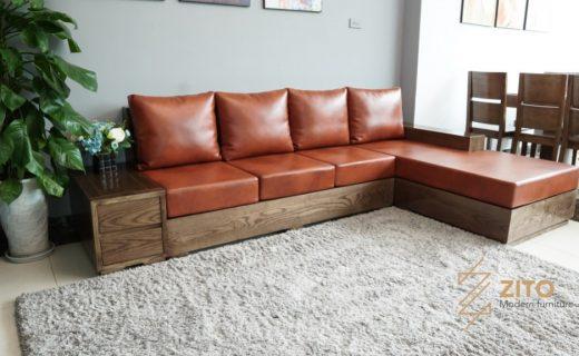 mẫu sofa gỗ đẹp sơn màu óc chó