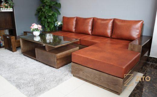 Bộ sofa gỗ sồi nga cao cấp sơn màu óc chó đẹp