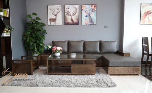 Sofa gỗ sồi sơn màu óc chó dành cho phòng khách đẹp
