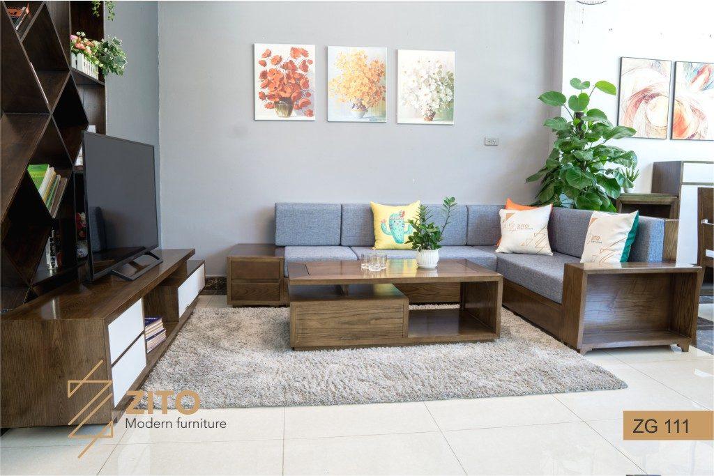 Bộ bàn ghế sofa gỗ đẹp màu óc chó ZG 111 sofa phòng khách tuổi Canh Thân
