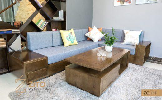 Sofa gỗ màu óc chó đẹp ZG 111