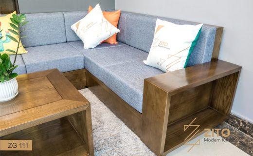 Thiết kế ghế sofa gỗ màu óc chó ZG 111 hiện đại, tiện nghi