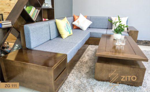 Kiếu dáng sofa gỗ chữ L ZG111 màu óc chó