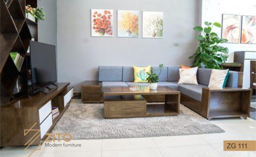 Bộ bàn ghế sofa gỗ đẹp màu óc chó ZG 111