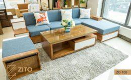 Sofa gỗ Xoan đào chất lượng, kiểu dáng đẹp