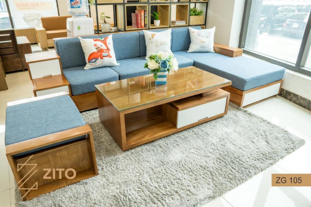 Sofa gỗ chữ L ZG 105 go xoan dao