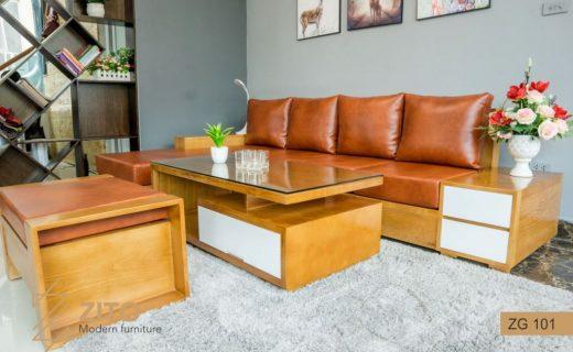 bàn ghế gỗ chữ l