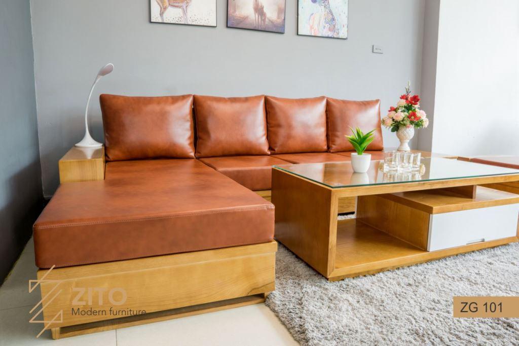 mẫu ghế Sofa gỗ chữ L ZG101 hiện đại cho nội thất phòng khách