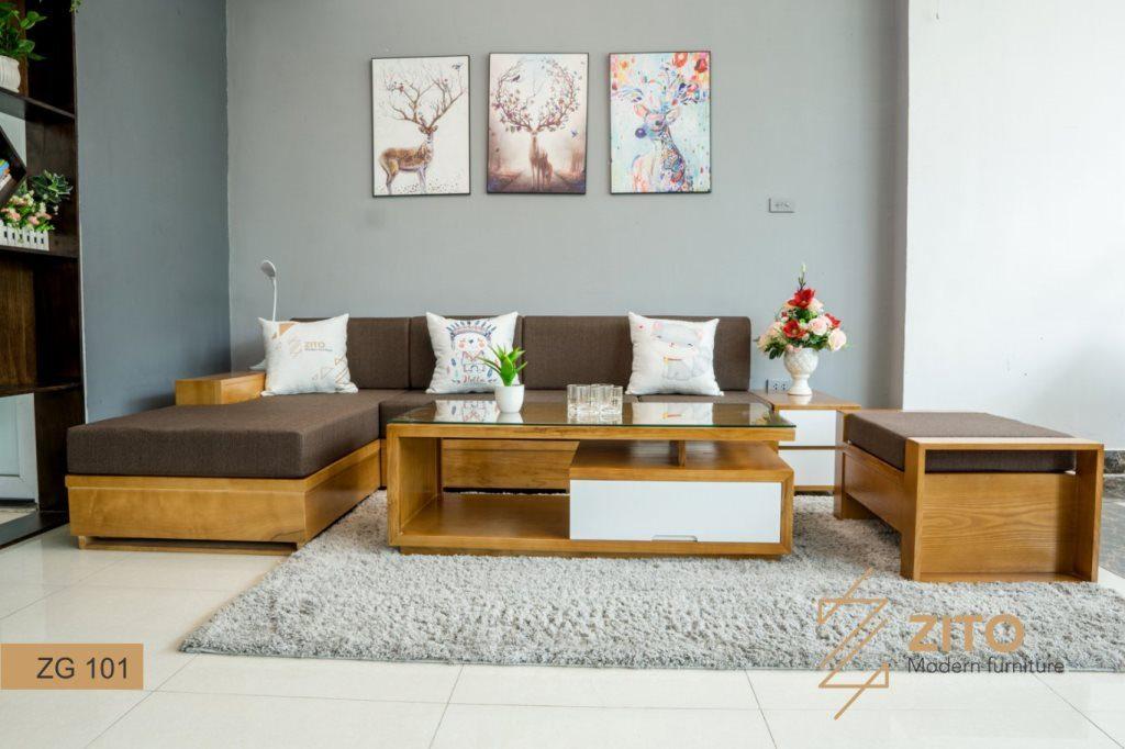 sofa gỗ tự nhiên chữ L, sofa gỗ chữ L