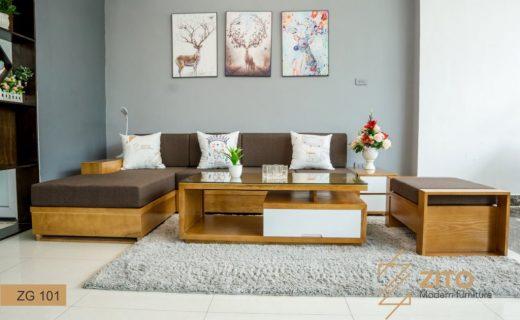 bàn ghế gỗ phòng khách hình chữ l