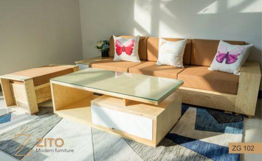 sofa văng gỗ nỉ