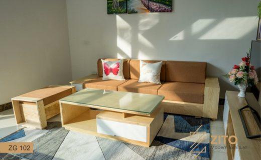 sofa văng gỗ da
