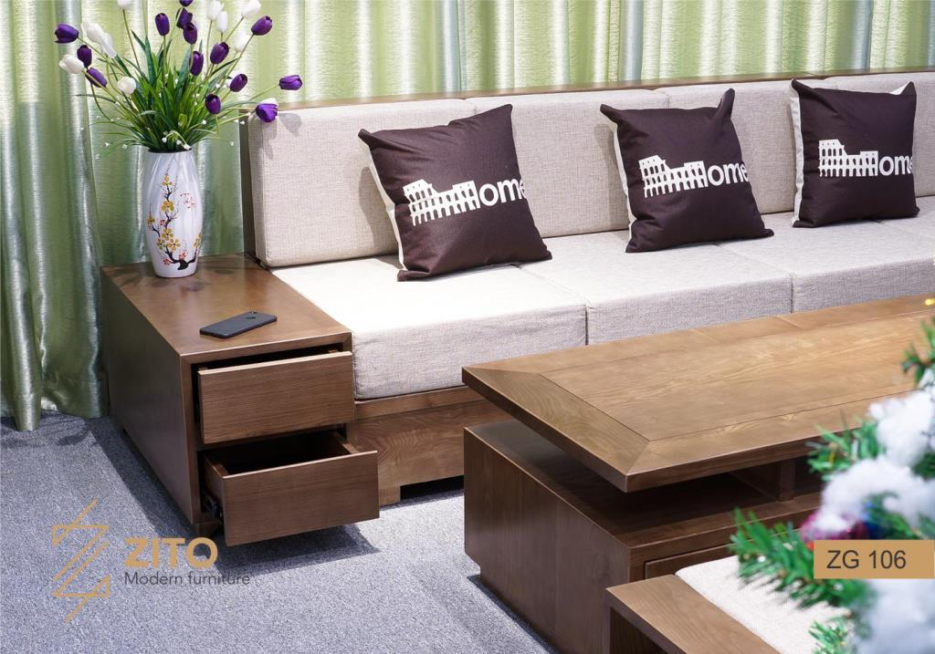 sofa gỗ sồi