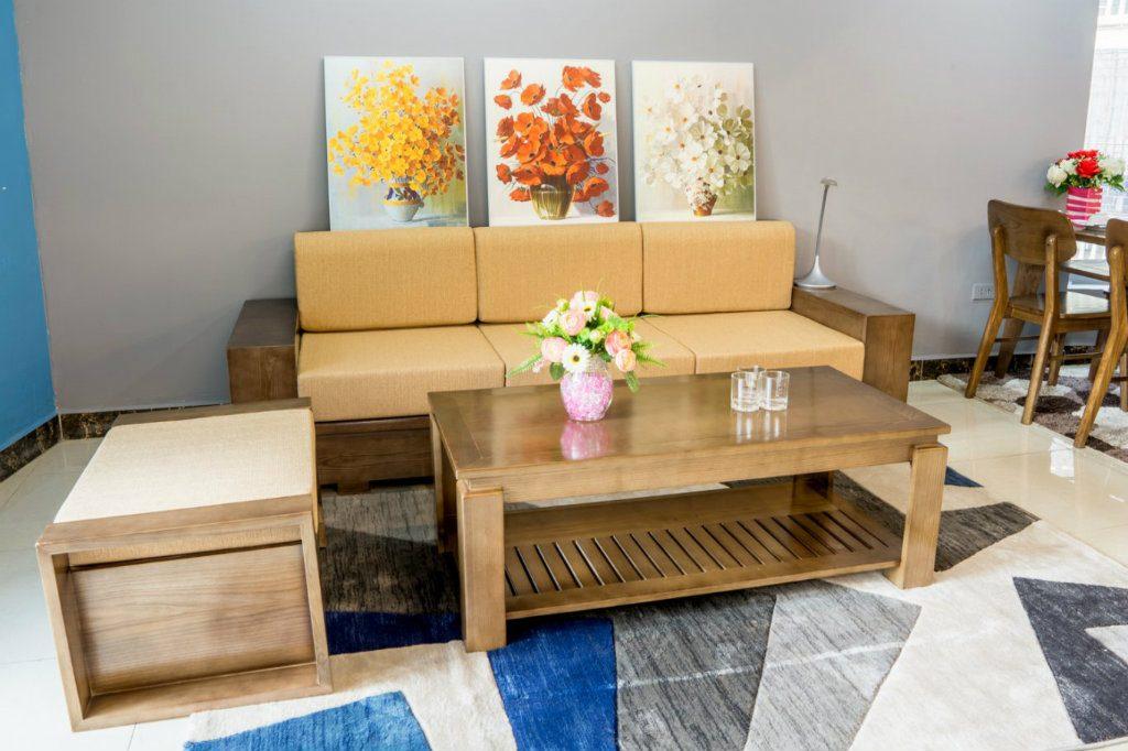 Bộ sofa gỗ Sồi Nga kết hợp với đệm cao cấp