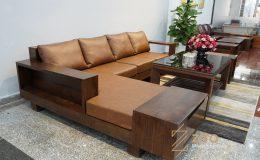 Sofa gỗ góc L ZG 118, Zg 118, Gỗ óc Chó (3)