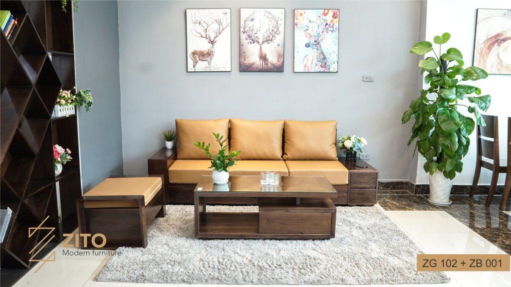 Bộ sofa gỗ Óc chó ZG 102 cho phòng khách