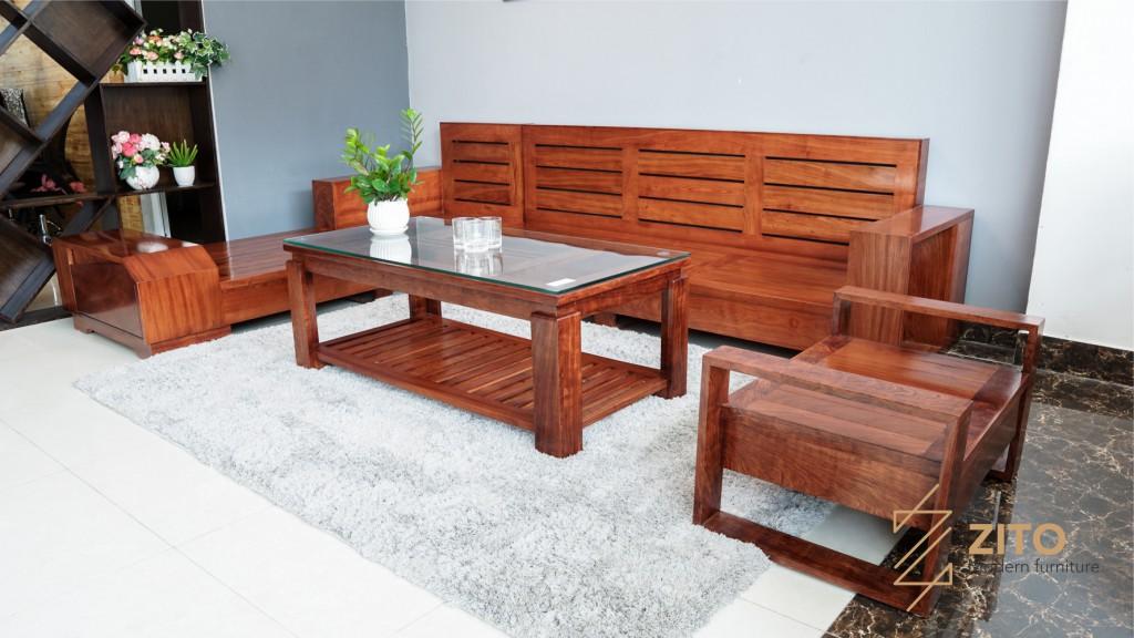 Thiết kế sofa gỗ hương đá tinh tế và tỉ mỉ trong từng chi tiết