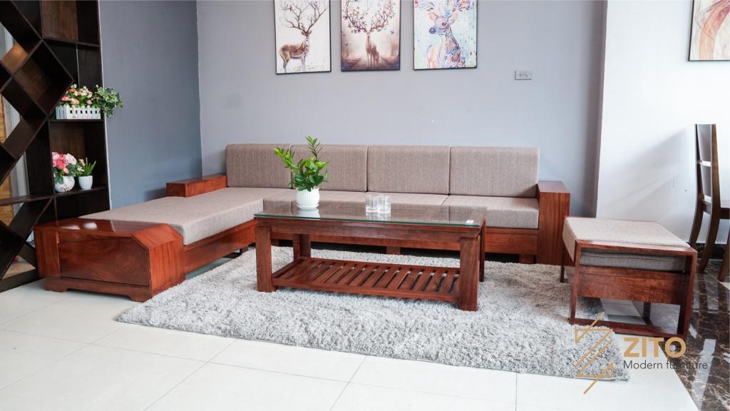 Bộ sofa gỗ Hương - chất liệu bộ sofa gỗ rất được ưa chuộng