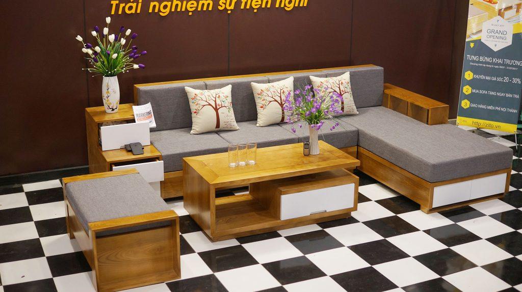 Bàn ghế Sofa gỗ chữ L ZG 105 kiểu châu âu hiện đại Tại Nội Thất ZITO