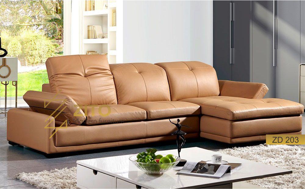 bộ ghế sofa góc da thật