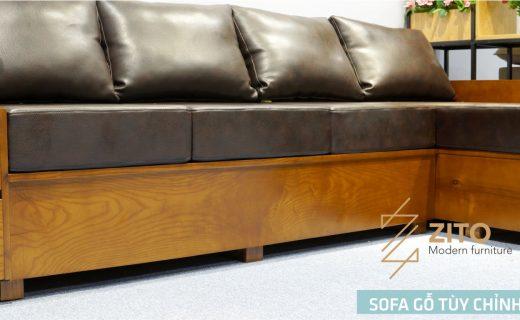 Kết hợp sofa gỗ óc chó với lớp đệm da Hàn Quốc vào mùa đông ấm áp