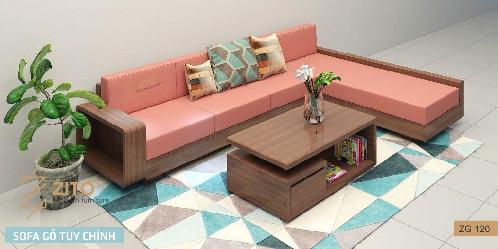Mẫu bàn ghế Sofa gỗ góc L ZG 120 gỗ sồi sơn óc chó