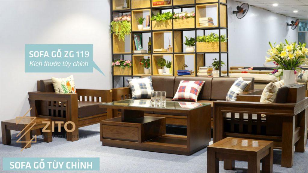 Bộ bàn ghế sofa gỗ sồi Nga đẹp, hiện đại và sang trọng