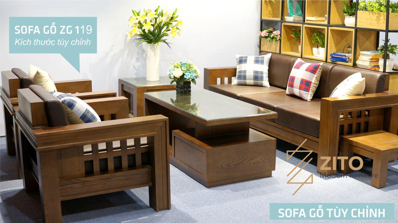 Bộ sofa gỗ sồi nga đẹp dành cho phòng khách