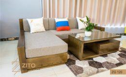 Bộ sofa gỗ Sồi giá tốt chữ L ZG 120 tại Hà Nội