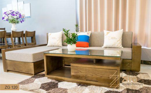 Sofa gỗ nhỏ góc chữ L ZG120