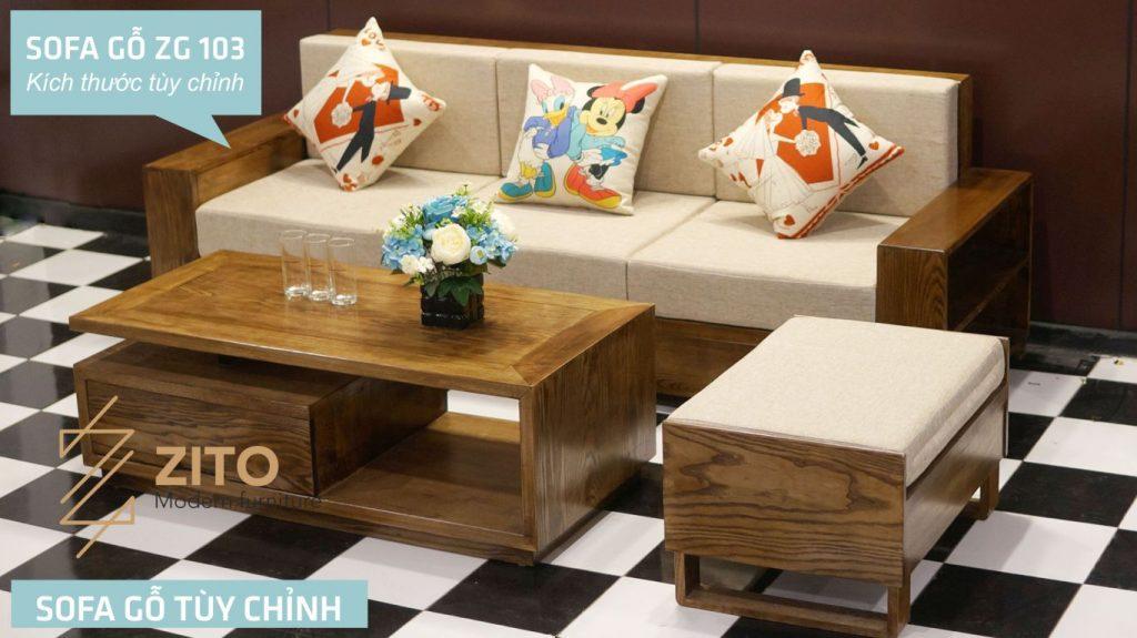 bộ bàn ghế sofa văng gỗ đẹp phòng khách