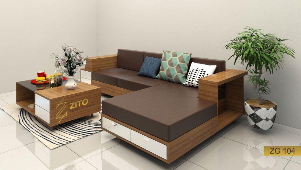 Mẫu bàn ghế Sofa bed gỗ ZG104