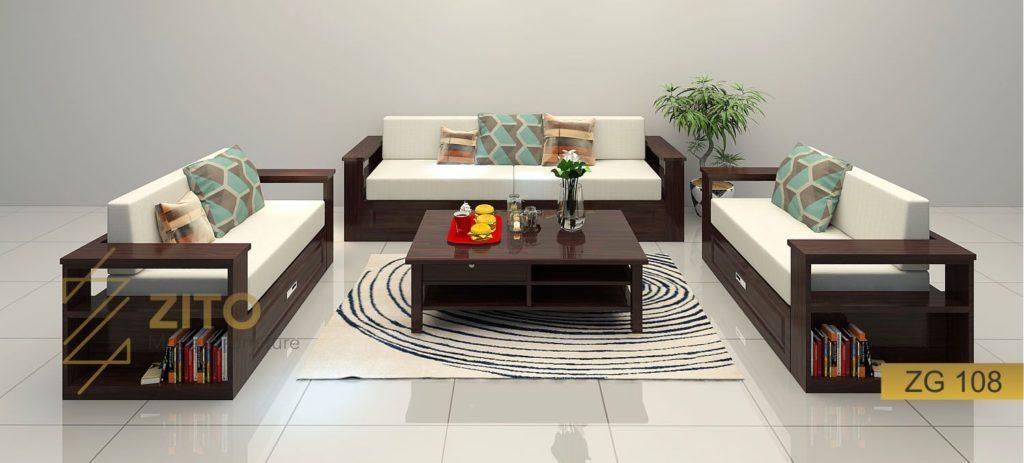 sofa gỗ tự nhiên chữ U, sofa gỗ góc chữ u