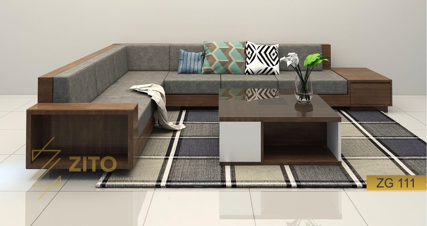 Sofa gỗ góc L ZG 111 phòng khách tại Nội thất ZITO